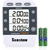 Samshow Digital Dual Kitchen Timer, 3 Channels Count UP/Down Timer, Cooking Timer, Stopwatch, Large Display, Adjustable Volume Alarm with Magnetic Back, Stand, Battery Included (White)