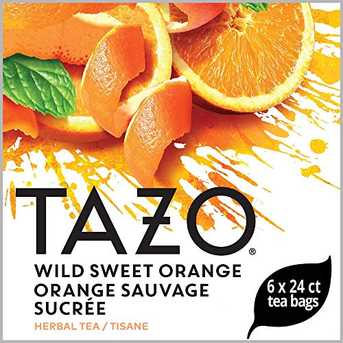 TAZO Wild Sweet Orange Enveloped Hot Tea Bags Herbal, Caffeine Free, Non GMO, 24 count, Pack of 6