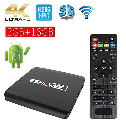 ESHOWEE Android 7 1 TV Box R1 Amlogic S905W Quad-core DDR3 2GB 16GB 4K UHD  WiFi and LAN VP9 DLNA H 265