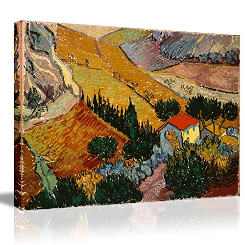 - Landscape with House and Ploughman Famous Oil Painting- by Vincent Van Gogh No Frame Canvas Prints Wall Art Classical Artworks Wall Painting Wallpaper-16×12
