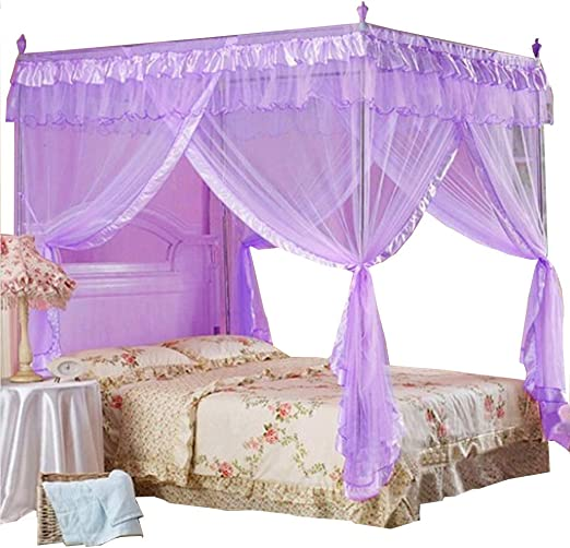 Purple, Twin Mengersi 4 Corner Post Bed Curtain Canopy Net for Girls Boys Bed Canopies Mosquito Net