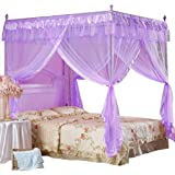 Mengersi Princess 4 Corners Post Bed Curtain Canopy Netting for Girls Boys Kids(Purple, Twin)