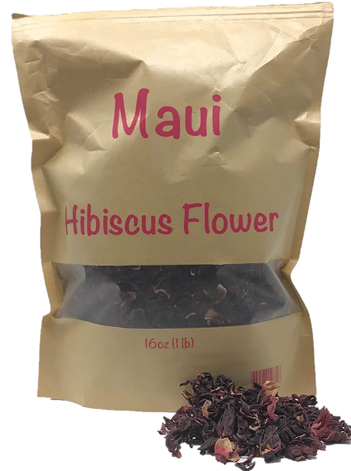 Maui Hibiscus flowers. 1 Pound 16 oz 100% Natural Dried Hibiscus Flower Cut & Sifted, 1 Pound Bulk Bag. 100% raw for perfect Hibiscus Tea or a cold drink. ( Whole Flower, no small pieces)