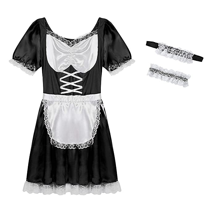 Sissy Men/'s Maid Satin Dress Cosplay Role Play Uniform Fancy Costume Outfit Set
