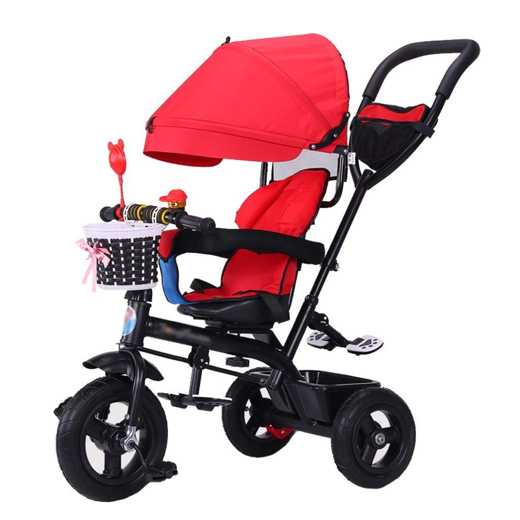 Einzigartiger Kinderwagen Trike Bike Push and Ride Kinderwagen mit Bremsen und abnehmbarer Markise Klappbares Kinderfahrrad für 6 Monate - 6 Jahre alt Rot