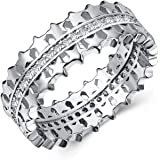 Huitan Star Alternating Wide Band Ring White Cubic-Zirconia Couple Rings Size 6 7 8 9 10