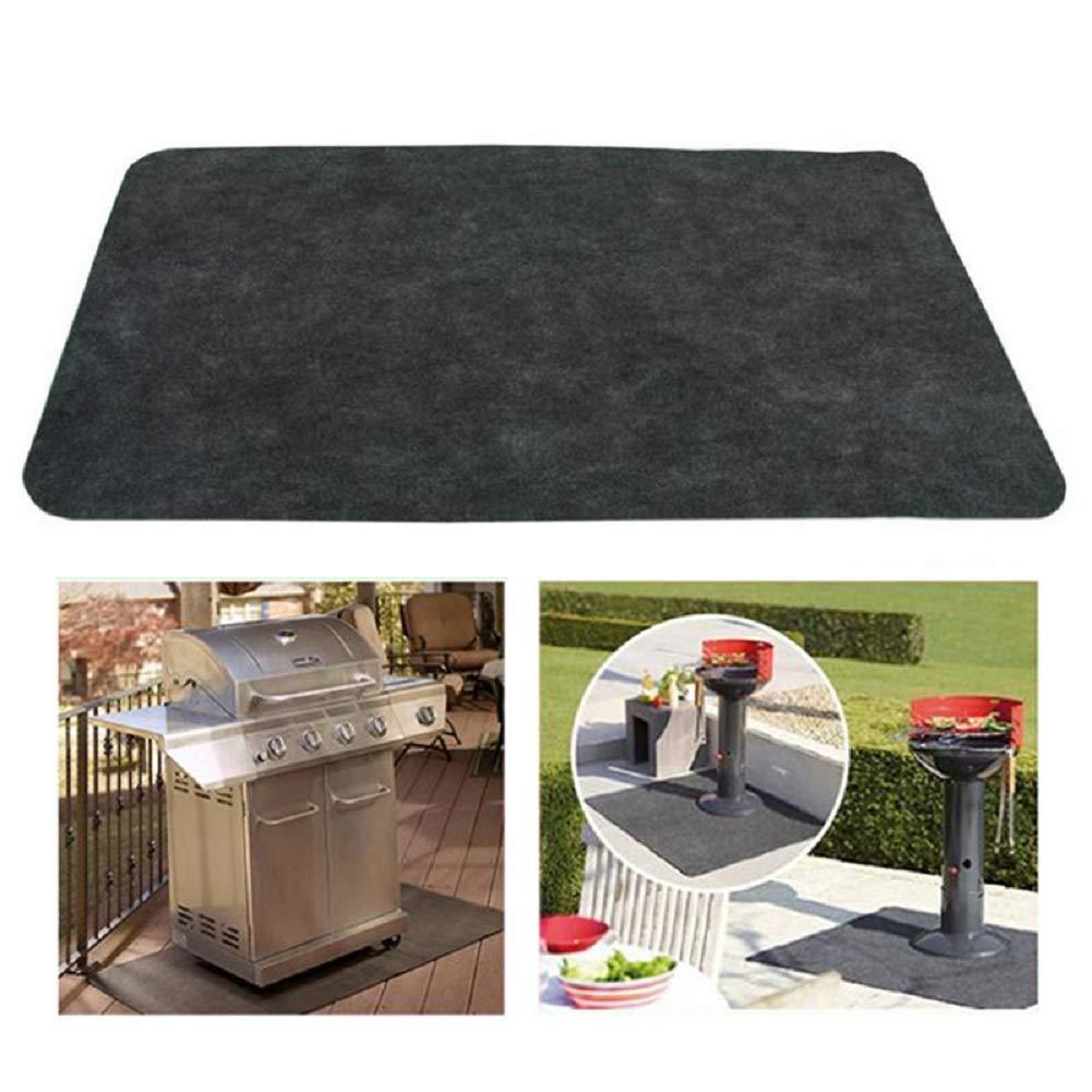 Denshin Non-Stick BBQ Grill Mat, DENSHINE Barbecue Grill Splatter Mat Liners Fireproof Heat Resistant Roast Mat Backyard Floor Protective Rug 48'' x 30'' (Black)