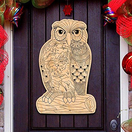Wise Messenger Owl DIY Coloring Decorative Holiday Door Hanger #8358912H DIY -