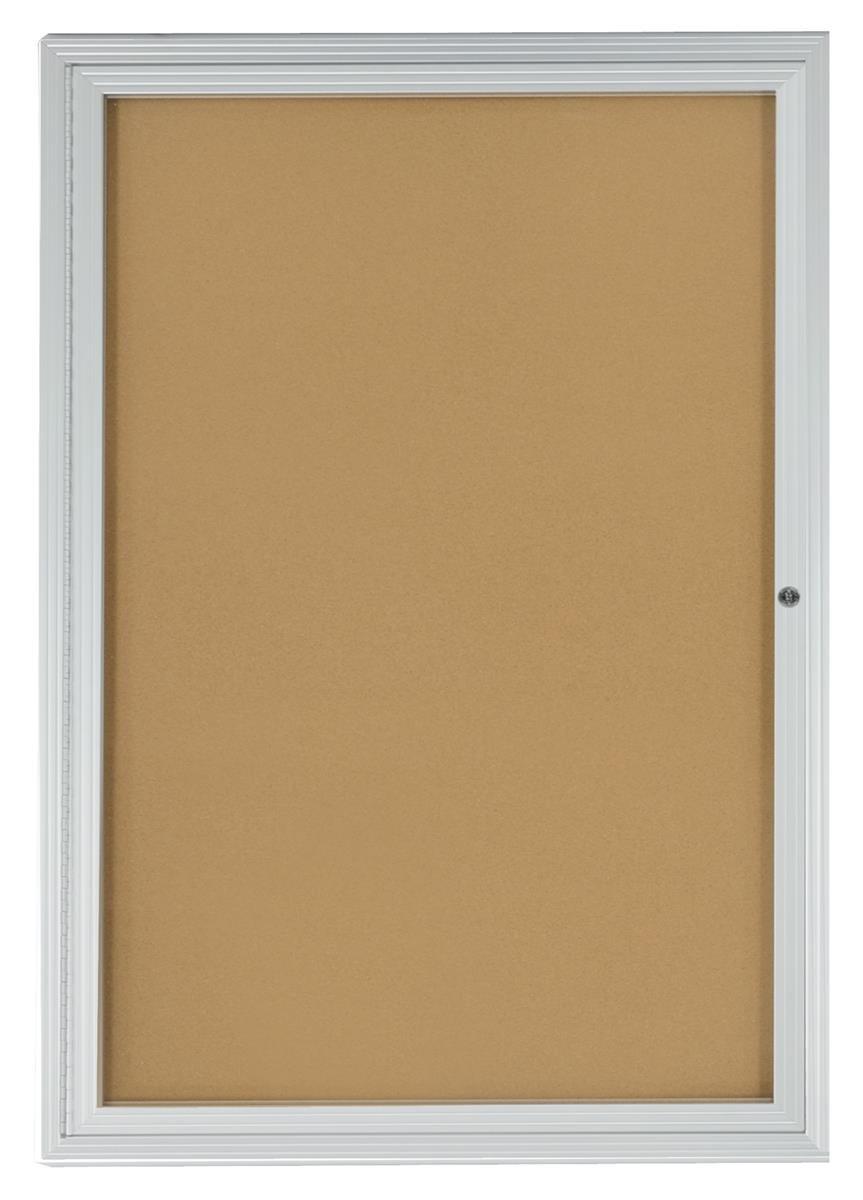 Displays2go 2x3 Foot Cork Enclosed Bulletin Board, 24'' x 36'' with Hinged Door, Aluminum (LCRKSF2436) by Displays2go