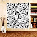 Gzhihine Custom tapestry Casino Decorations Collection The Dices Close-Up Abstract Monochromic Chaotic Crowded Gaming Houses Bedroom Living Room Dorm Tapestry