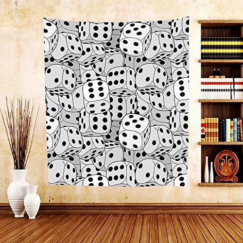 Gzhihine Custom tapestry Casino Decorations Collection The Dices Close-Up Abstract Monochromic Chaotic Crowded Gaming Houses Bedroom Living Room Dorm Tapestry by Gzhihine