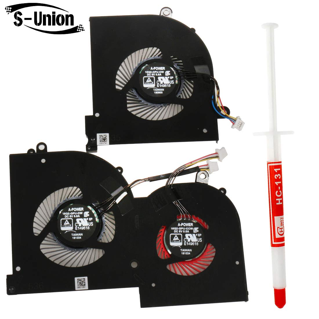 S-Union New Laptop Replacement CPU Cooling Fan for MSI GS65 GS65VR Series Laptop MS-16Q2 16Q2-CPU-CW 16Q2-GPU-CW