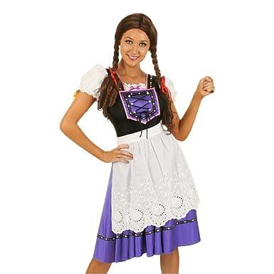 CLUBCORSETS Dirndl Traje Morado Disfraz de Oktoberfest ...