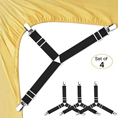 Bed Sheet Fasteners, 4 PCS Adjustable Triangle Elastic Suspenders Gripper Holder Straps Clip for Bed Sheets,Mattress Covers, Sofa Cushion (4 Pack-Short)