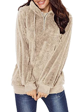 2b583e61a Allumk Women's Fashion Pullover Fleece Hoodie Sweater Front 1/4 Zipper  Sweatshirt with Pockets Apricot
