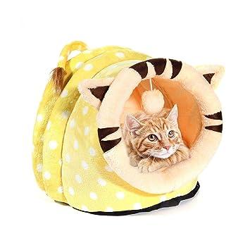 leegoal Casa para Gatos Interior, Lujo Cama para Gatos/Perros Pequeños/Animal Doméstico, Lavable y Cálida Igloo Cueva para Mascotas en Invierno,Amarillo, ...