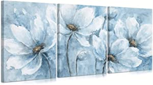 "B BLINGBLING Magnolia Flower Picture Wall Decor: Blue and White Flower Canvas Wall Art for Bedroom Floral Painting Frame Ready to Hang (12""x16""x3 Panels)"