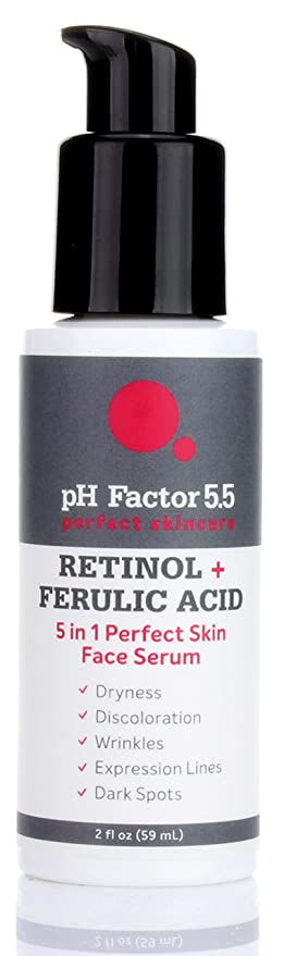 Amazon Com Ph Factor 5 5 Retinol Serum For Face With Ferulic Acid And Natural Extracts Retinol Serum For Dark Spots Wrinkles Expression Lines Rough Texture And Dry Skin Large 2 Fl Oz Bottle