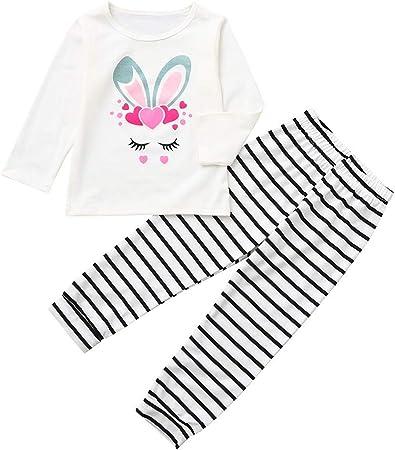 Cartoon Toddler Kids Baby Girl Rabbit T-shirt Top Striped Dress Outfits Clothes