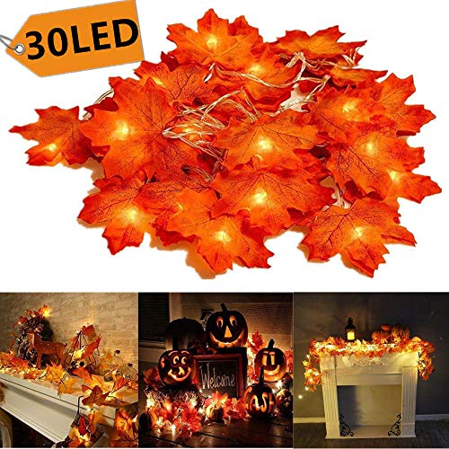 Christmas Decorations Fall Lighted Garland, 30 LED Maple Leaf String Lights, Battery Powered Harvest Fall Garlands String Light, Perfect Decoration for Autumn Halloween Christmas Indoor Outdoor