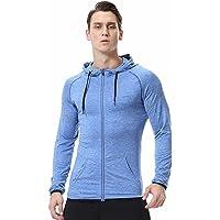 Herren Fitness Hoodies Sweatshirt Slim Fit Zip Up Reflektierende Workout Gym T-Shirts Quick Dry Kapuzenjacke Leicht Top Teens Jungen