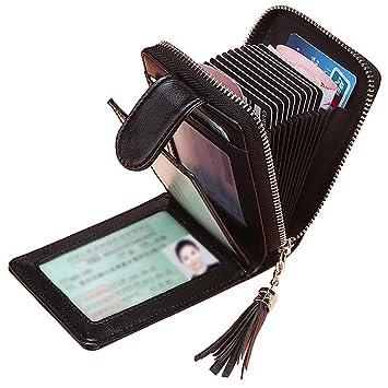 Tarjeteros para Tarjetas de Credito Mujer SAMKING Titular de la Tarjeta de Crédito Carteras de Cuero RFID Monederos con Cremallera (Negro): Amazon.es: ...