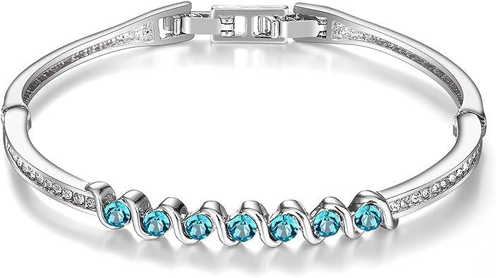 JINY Jewelry White Zircon Women Gift Bangle Silver Plated Crystal Jewelry