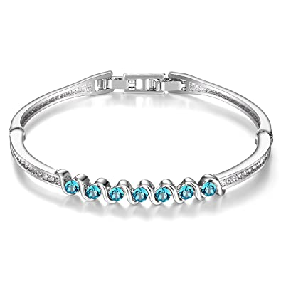 83390b8592de5a Menton Ezil 925 Silver Plated Made with Swarovski Blue Crystals 7 Inches Bangle  Bracelet Gift for