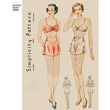Simplicity Miss Vintage Büstenhalter und Höschen Schnittmuster ...