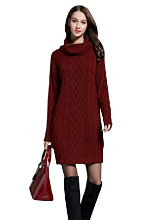 81e77872adbb BiilyLi Women Spring Oversized Cozy up Knit Sweater Casual Turtleneck Long  Sleeve Loose Fit Jumper Pullover Top Bottom Shirt Midi Dress (Red Wine