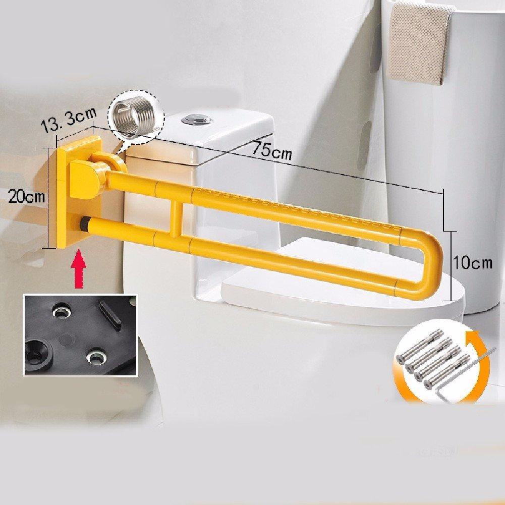 HQLCX Handrail Bathroom Folding Toilet Handrail Safety Folding Toilet Seat Handrailing Stainless Steel Nylon Antiskid Handrail,75Cm,Yellow