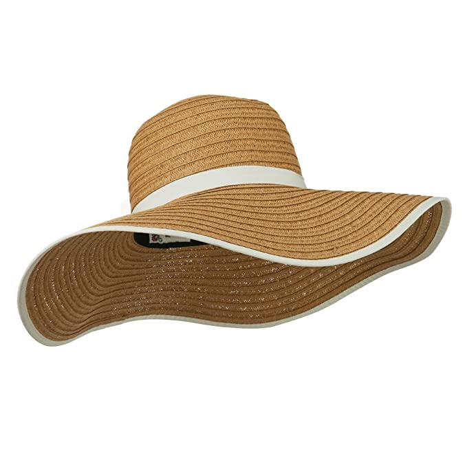 086bd70b4cbea Big Floppy Hat with Coconut Ring Band - White OSFM at Amazon Women s  Clothing store