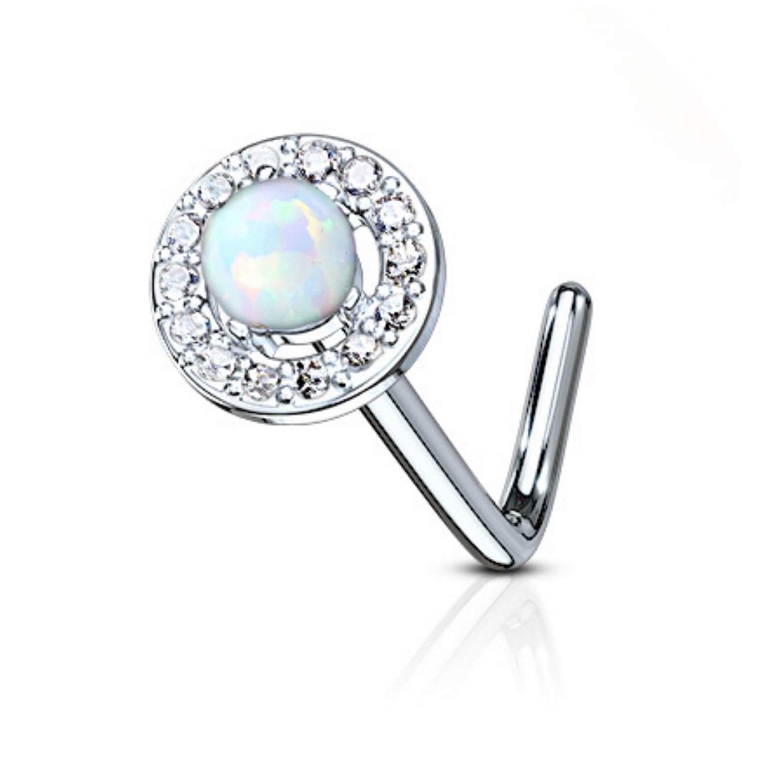 Synthetic Opal Dome Top L-Shaped Surgical Steel Nose Ring Stud 20 Gauge (White)