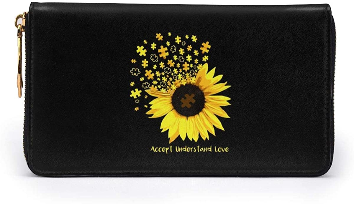 Mens Walllet Zipper Love Sunflowers Autism PU Leather Long Wallet for Banknote Credit Card