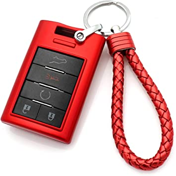 Red Thor-Ind Key Fob Cover Keychain for Cadillac ATS CTS DTS XTS Escalade or Chevrolet Corvette C7 Captiva2015 2016 2017