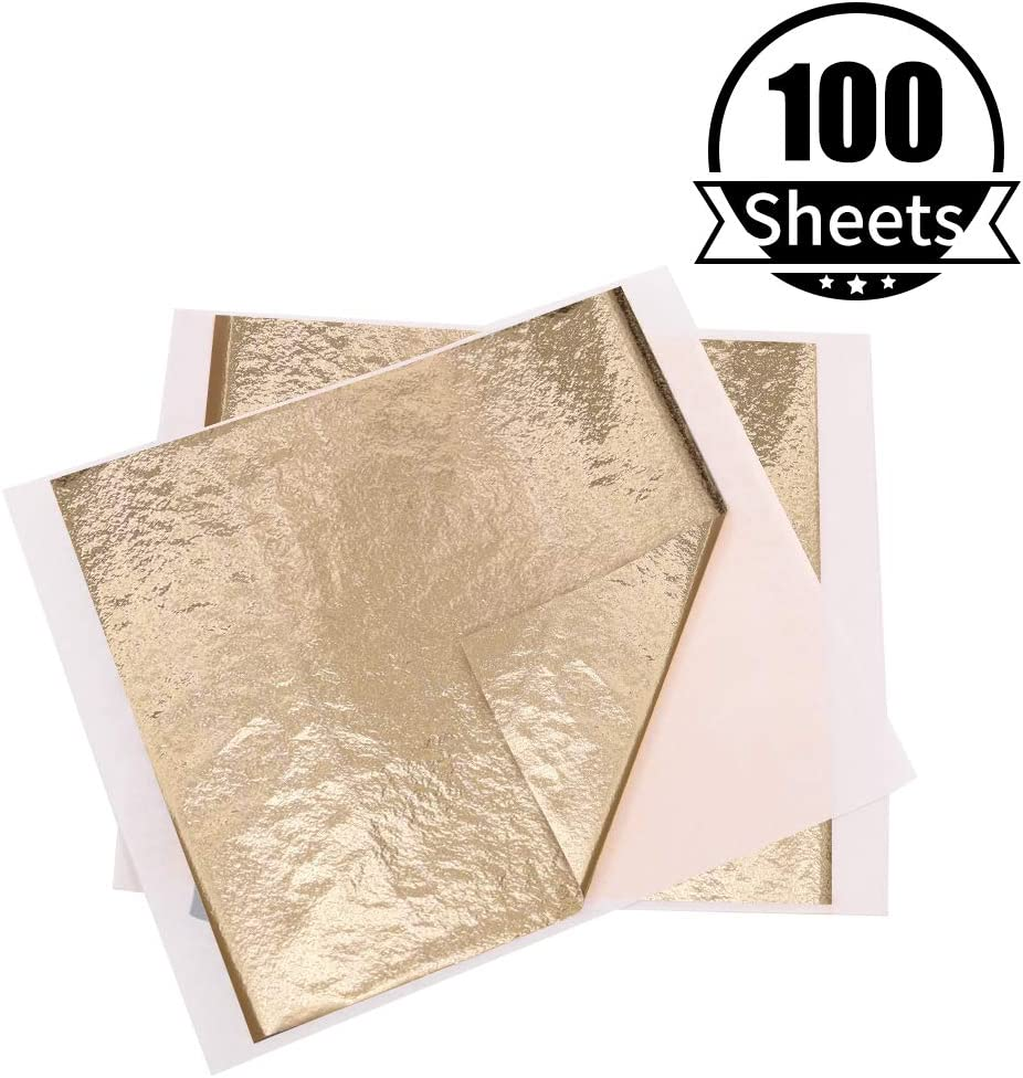 Paintings Furniture Nails Handcrafts Wall 100 Sheets 5.1 by 5.3 Inches Sculpture Picture Frames Imitation Gold Foil Sheets Gilding KINNO Gold and Silver Leaf Paper for Arts Decoration