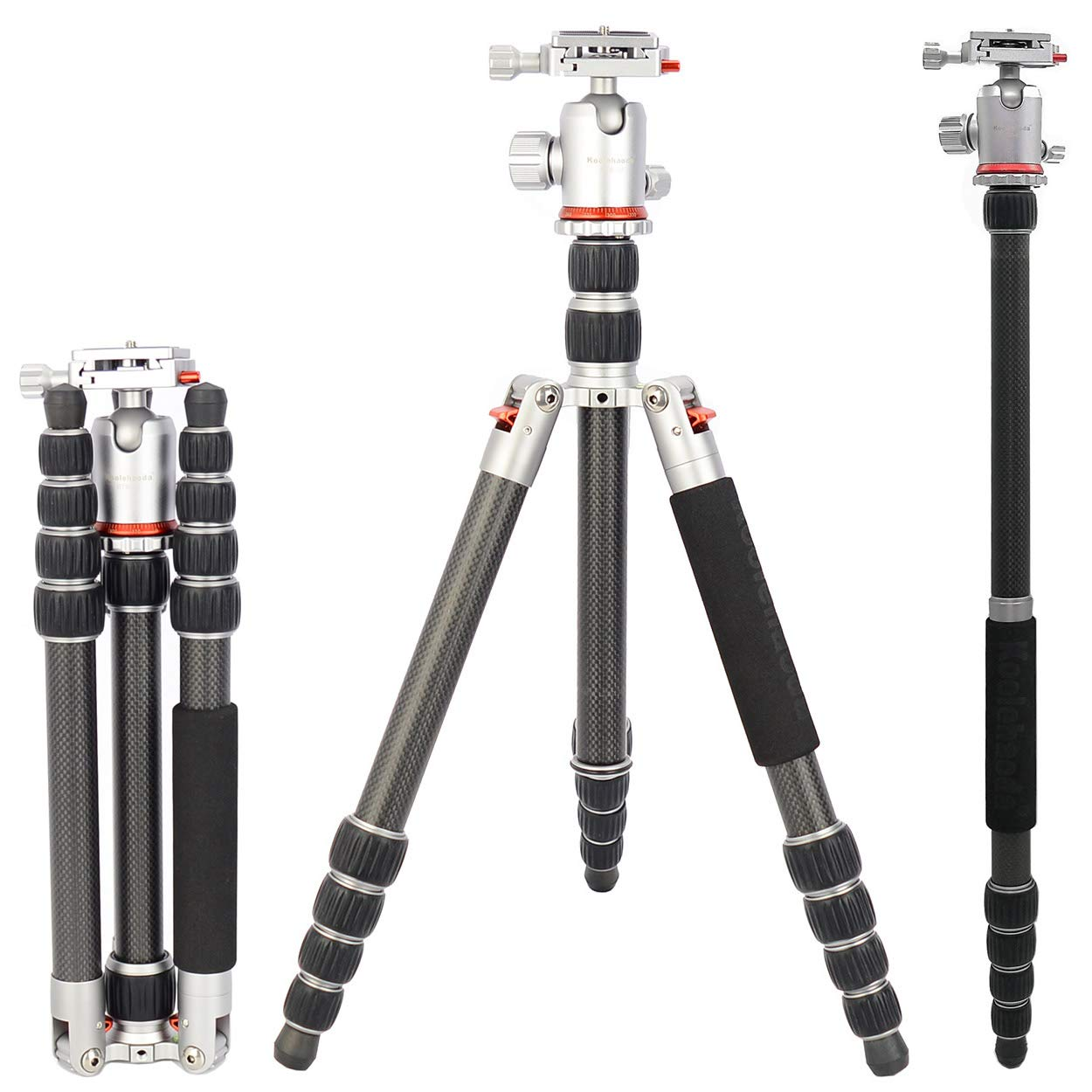 Koolehaoda Portable Lightweight Carbon Fiber 63 inches/160 Centimeters Camera Tripod Monopod with 360 Degree Ball Head for DSLR Camera,Video Camcorder, Weighing in at just 1.25kg/2.75lbs by koolehaoda