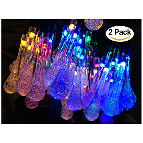 2 Pack Solar Strings Lights, Lemontec 20 Feet 30 LED Water Drop Solar Fairy Lights, Waterproof Lights for Garden, Patio, Yard, Home, Parties- Multi Color (Decorative Outdoor String Lighting)