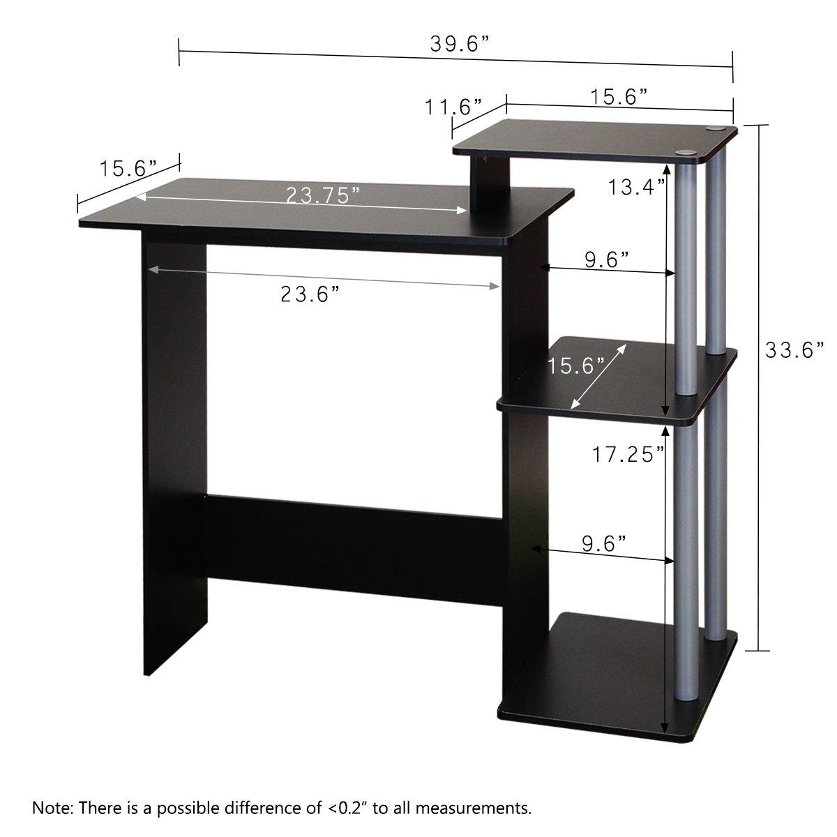 Amazon.com: Furinno 11192BK/GY Efficient Computer Desk, Black/Grey ...