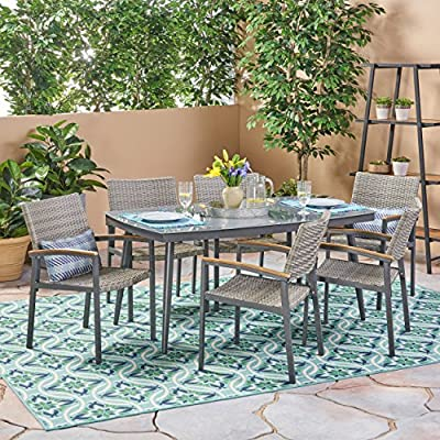 Christopher Knight Home Lily Outdoor Aluminum and Wicker 7 Piece Dining Set with Tempered Glass Top, Gray - The right dining set will transform your patio from simply being a part of your backyard to something much more meaningful. With a glossy, tempered glass surface and chairs so lavishly comfortable you'll forget you're sitting at the table for a meal, you'll find yourself losing track of the time you spend enjoying the company of those you cherish most in life. Includes: One (1) Table and Six (6) Chairs. Table Material: Tempered Glass. Table Leg Material: Rust-Proof Aluminum. Chair Material: Polyethylene Wicker. Chair Frame Material: Rust-Proof Aluminum. Chair Arm Material: Faux Wood. Table Wood Finish: Natural. Table Leg Finish: Gray. - patio-furniture, dining-sets-patio-funiture, patio - 616yeA9i2gL. SS400  -