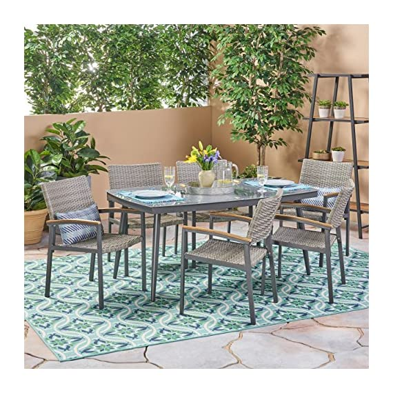 Christopher Knight Home Lily Outdoor Aluminum and Wicker 7 Piece Dining Set with Tempered Glass Top, Gray - The right dining set will transform your patio from simply being a part of your backyard to something much more meaningful. With a glossy, tempered glass surface and chairs so lavishly comfortable you'll forget you're sitting at the table for a meal, you'll find yourself losing track of the time you spend enjoying the company of those you cherish most in life. Includes: One (1) Table and Six (6) Chairs. Table Material: Tempered Glass. Table Leg Material: Rust-Proof Aluminum. Chair Material: Polyethylene Wicker. Chair Frame Material: Rust-Proof Aluminum. Chair Arm Material: Faux Wood. Table Wood Finish: Natural. Table Leg Finish: Gray. - patio-furniture, dining-sets-patio-funiture, patio - 616yeA9i2gL. SS570  -