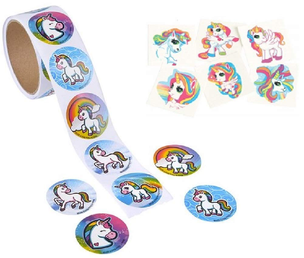 Novelty Treasures Mystical Unicorn Party Set 100 Sticker Roll and 144 Tattoos 3