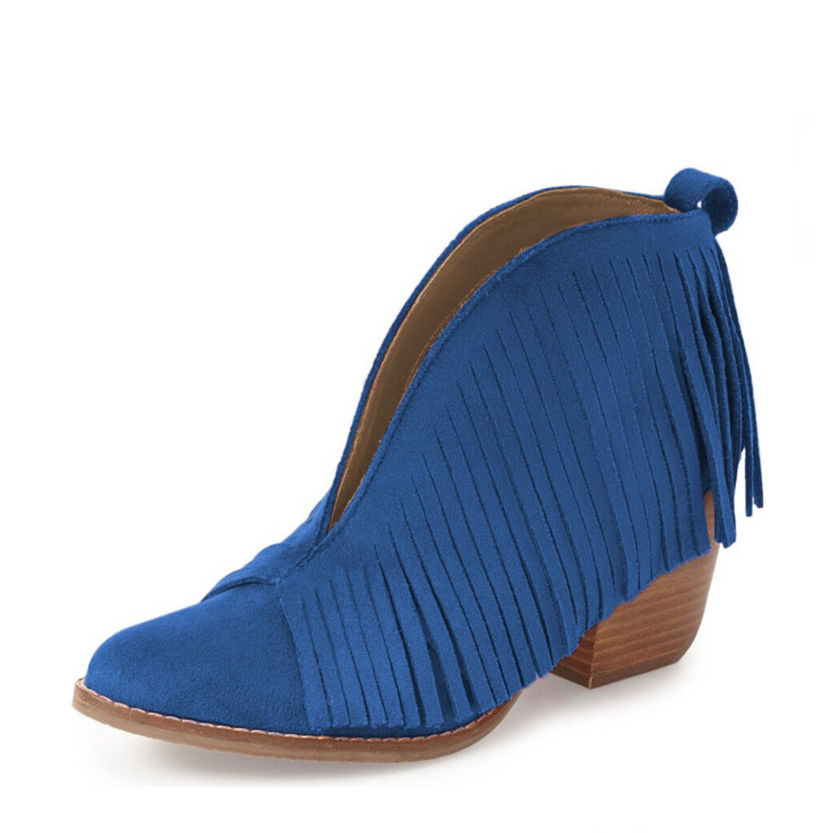YDN Western Ankle High Boots with Tassels Round Toe Block Heel Suede Retro Booties B01KC2G4DW 6 B(M) US Blue