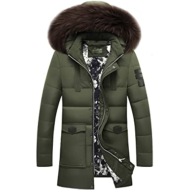 9838e639fcc INFLATION Mens Hooded Winter Padded Puffer Down Jacket Thick Midlength Parka  Coats with Detachable Fur Collar Warm Casual Sports Outerwear