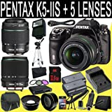 Pentax K-5 IIs Digital SLR Camera + SMC DA 18-55mm f/3.5-5.6 AL Weather Resistant Lens + SMC Pentax DA 50-200mm f/4-5.6 ED Zoom Lens + SMC DA 18-135mm f/3.5-5.6 ED AL [IF] DC Weather Resistant + Two D-LI90 Replacement Li-Ion Batterywith Charger + 32GB SDHC Class 10 Memory Card + 52mm Wide Angle Lens + 52mm 2x Telephoto Lens + 52mm 3 Pc Filter Kit + Mini HDMI Cable + Carrying Case + Full Size
