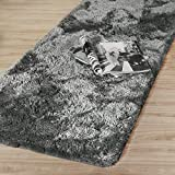 Lifewit 67'x24' Long Runner Rug Ultra Premium Shag Microfiber Non Slip Rubber Back Area Rug for Living Room and Bathroom, Grey (Silver Grey)