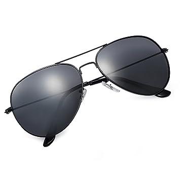 Yveser Gafas de Sol UV400 polarizadas para Hombres y Mujeres Yv3025 (Lente Negro/Marco