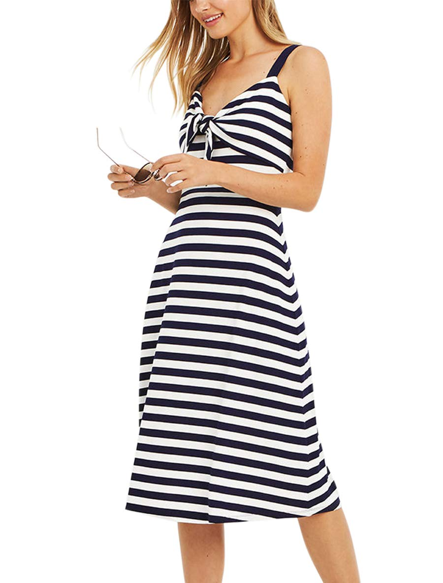 Blooming Jelly Women's Striped V Neck Dress Strappy Tie Knot Loose Summer Midi Dress with Pocket
