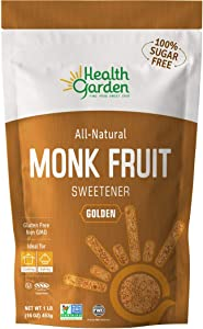 Health Garden Monk Fruit Sweetener, Golden- Non GMO - Gluten Free - Sugar Substitute - Kosher - Keto Friendly (1 lb)