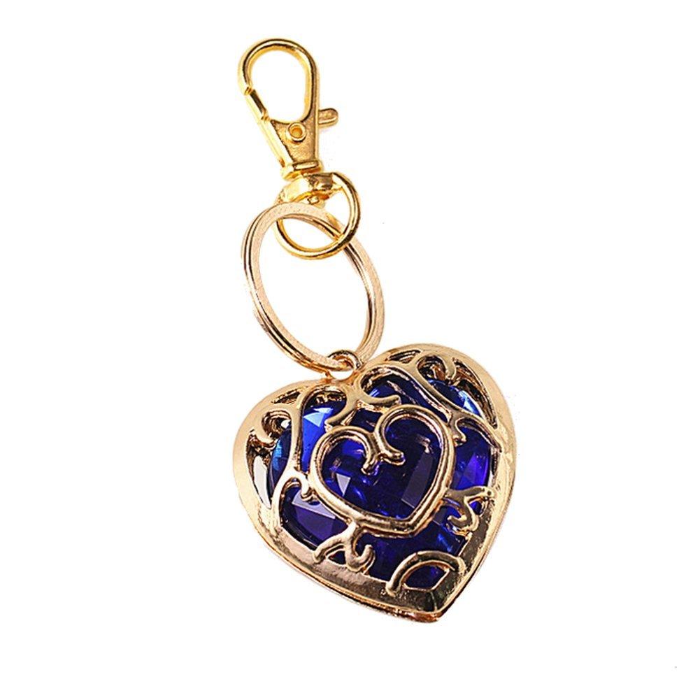 Cosanter Zelda legendario llavero de cristal de moda en forma de coraz贸n collar de dinero de la marea azul collar rojo
